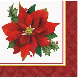 16 Pack Holly Poinsettia Paper Cocktail Napkins thumb