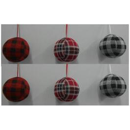 "6 Pack 3"" Plastic Plaid Ornament, Assorted Colours thumb"