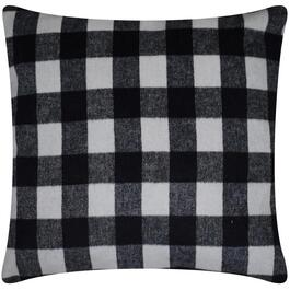 "18"" Black and White Plaid Pillow Cover thumb"