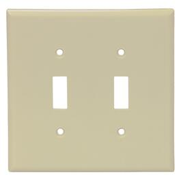 Ivory Plastic 2-Toggle Switch Plate thumb