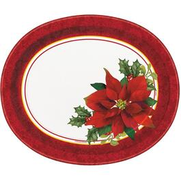8 Pack Oval Holly Poinsettia Paper Plates thumb