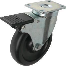 "5"" Rubber Swivel Plate Caster, with Front Brake thumb"