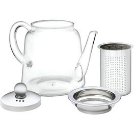 900ml Glass/Stainless Steel Teapot, with Strainer thumb