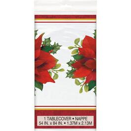 "84"" x 54"" Holly Poinsettia Plastic Tablecloth thumb"