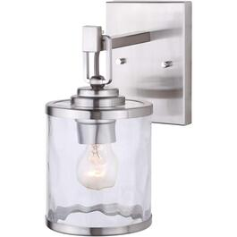 Cala 1 Light Brushed Nickel Wall Light Fixture with Watermark Glass thumb