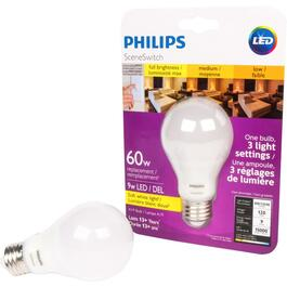 9W A19 Medium Base LED Light Bulb with 3 Colour Settings of Soft White thumb