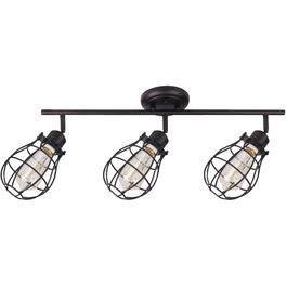 Lancy 3 Light Matte Black Caged Shade Track Light Fixture thumb