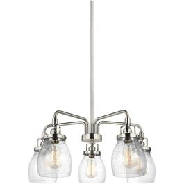 Belton 5 Light Brushed Nickel Chandelier Light Fixture, with Seeded Glass thumb