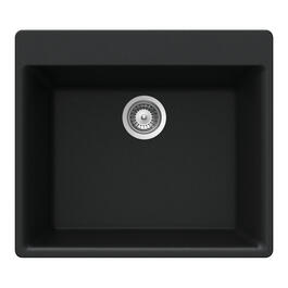 "21"" x 23 5/8"" x 8 5/8"" Black Granite Single Drop In Sink thumb"