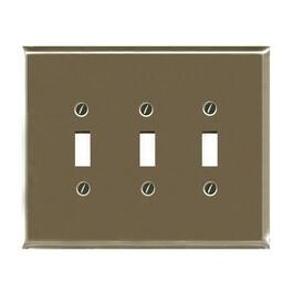3 Toggle Brushed Nickel Switch Plate thumb