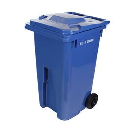 "240L Blue European Grip Curbside Garbage Can, with 8"" Wheels thumb"