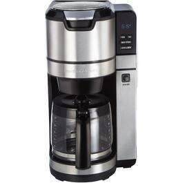 12 Cup Black/Stainless Steel Basket Coffee Maker, with Coffee Grinder thumb
