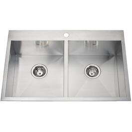 "31"" x 20"" x 8"" Double Squared Bowl 1 Hole Stainless Steel Kitchen Sink thumb"