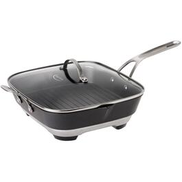 "12"" Square Non Stick Sizzle and Pour Skillet, with Glass Lid thumb"