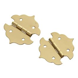 "2 Pack 1-1/8"" Brass Decorative Hinges thumb"