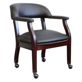 Black Leather Match Captain's Office Chair, with Casters thumb