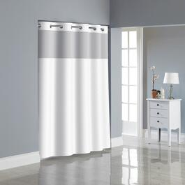"71""W x 74""L White Polyester Hookless Shower Curtain, with Peva Liner thumb"