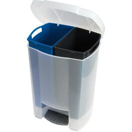White 2 Bin Step-On Garbage Can thumb