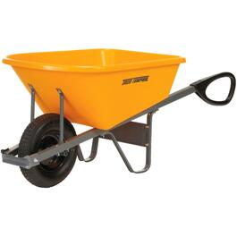 6 Cu. Ft Poly Tray Wheelbarrow, with Ergonomic Grip Handles thumb