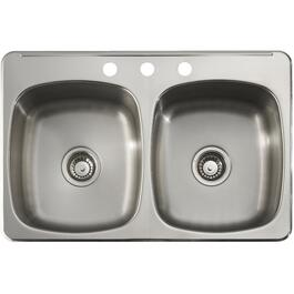 "31"" x 20"" x 7"" Double Stainless Steel 3 Hole Kitchen Sink, with Ledge and Satin Deck thumb"
