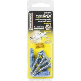 4 Pack #10 Blue Plastic Anchors, with Screws thumb