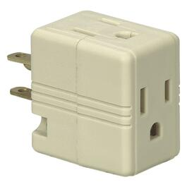 3 Outlet Ivory 3 Wire Cube Wall Tap thumb