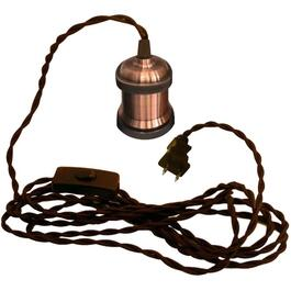 15' Antique Copper Socket with Brown Fabric Cord Plug-in Pendant Light Kit thumb