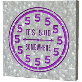 "12"" x 12"" Galvanized Outdoor 5 O'Clock Somewhere Sign thumb"