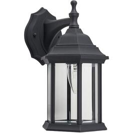 "12"" Black Outdoor Downward Coach Light Fixture with Clear Bevelled Glass thumb"