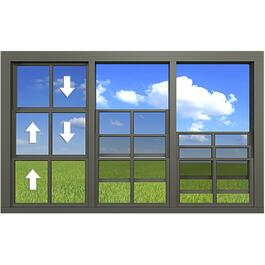 "120"" x 84"" Triple Section Vertical Vinyl Hung Porch Slider Window thumb"