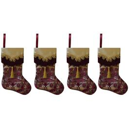4 Pack Burgundy and Gold Stocking Utensil Holder thumb