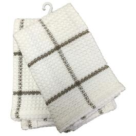 "2 Pack 14"" x 14"" Brown and White Waffle Dish Cloths thumb"