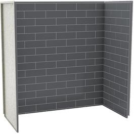 "60"" x 30"" x 60"" 3 Piece Thunder Grey U Tile Tub Wall thumb"