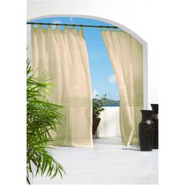 "50"" x 96"" Sheer Ivory Hook and Loop Tab Outdoor Curtain thumb"