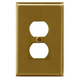 Polished Brass Duplex Receptacle Plate thumb