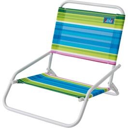 1 Position Mid Height Striped Beach Chair thumb