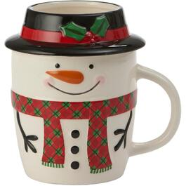 380mL Ceramic Snowman Mug, with Lid thumb