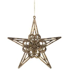 "6"" Acrylic Antique Gold Star Ornament, Assorted Designs thumb"