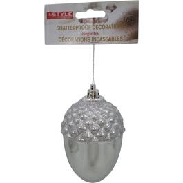 "4.25"" Plastic Light Silver Acorn Ornament thumb"