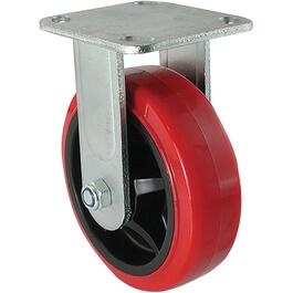 "6"" Polyurethane Mold-On Wheel Rigid Plate Caster thumb"