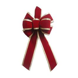 "17"" x 8"" Classic Red and Gold Velvet Bow thumb"