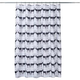 "70"" x 72"" White/Black Stag Polyester Shower Curtain thumb"