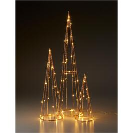 3 Pack Rose Gold Cone Tabletop Lighted Christmas Tree Set thumb