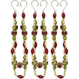 3 Pack Plastic Burgundy and Gold Dangle Ornaments thumb