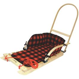Heritage Plaid Wood Sled, with Flat Metal Wear Bars, Push Handle and Pad thumb