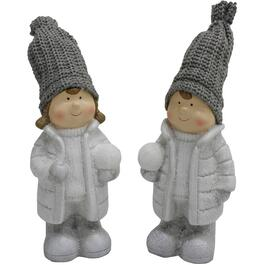 2 Piece Resin Children with Snowballs Figures thumb