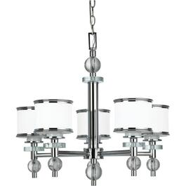 Orion 5 Light Chrome Chandelier Light Fixture with White Glass thumb