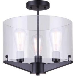 Joni 3 Light Matte Black Semi-Flush Light Fixture, Clear Glass thumb