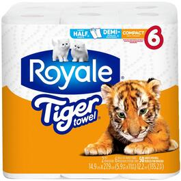 6 Rolls 50 Sheet 2 Ply Tiger Paper Towels thumb