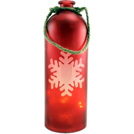 "12"" Glass Snowflake Bottle, with Battery Operated LED Lights, Assorted Colours thumb"